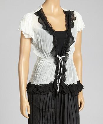 Cream & Black Crinkle Silk-Blend Top