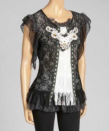 Black Lace-Overlay Embroidered Linen-Blend Top