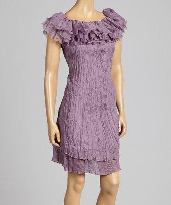 Mauve Crinkle Tie-Waist Silk-Blend Dress