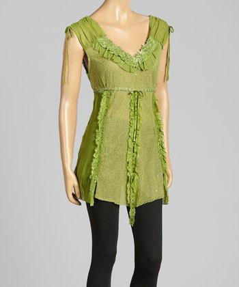 Green Pull-Tab Linen-Blend Tunic