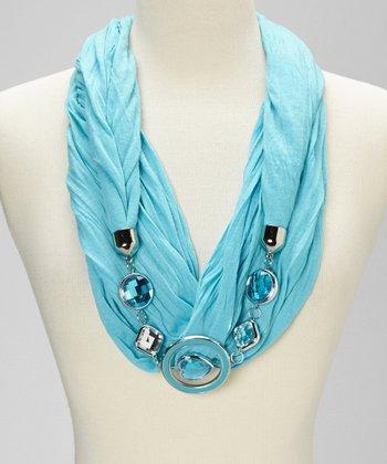 Aqua Silk-Blend Infinity Scarf