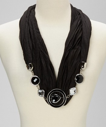 Black Silk-Blend Infinity Scarf