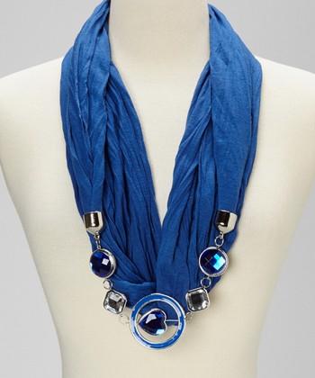 Blue Silk-Blend Infinity Scarf