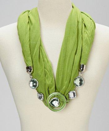 Green Silk-Blend Infinity Scarf