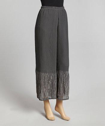 Gray Pleated Silk-Blend Palazzo Pants
