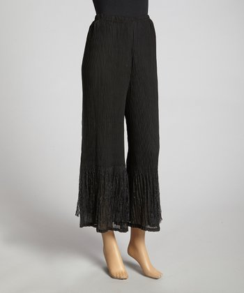 Black Pleated Silk-Blend Palazzo Pants