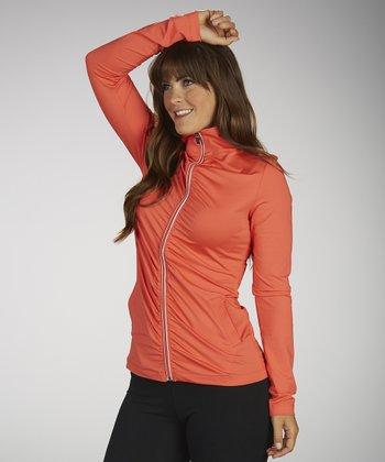 Sizzling Coral Omega Shirred Track Jacket