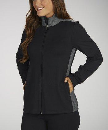 Black & Heather Gray Zip-Up Jacket