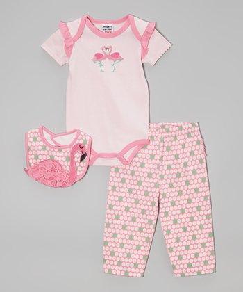 Peanut Buttons Pink Flamingo Bodysuit Set - Infant