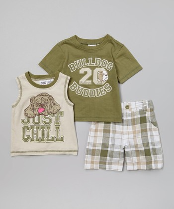 Peanut Buttons Dark Green & Gray Bulldog Tee Set - Infant, Toddler & Boys