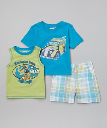 Peanut Buttons Aqua & Green Surfer Tee Set - Infant, Toddler & Boys