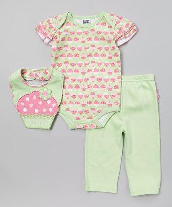 Peanut Buttons Lime & Pink Cupcake Bodysuit Set - Infant