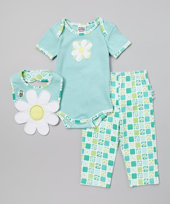 Peanut Buttons Teal & Green Daisy Bodysuit Set - Infant