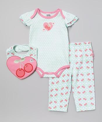 Peanut Buttons Light Blue & Pink Cherry Bodysuit Set - Infant