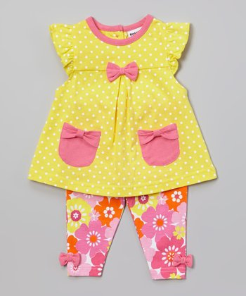 Peanut Buttons Yellow & Pink Polka Dot Tunic & Floral Pants - Infant