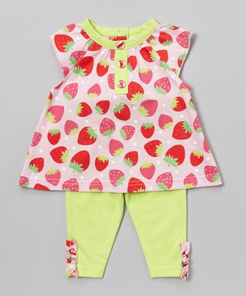 Peanut Buttons Lime & Pink Strawberry Tunic & Pants - Infant