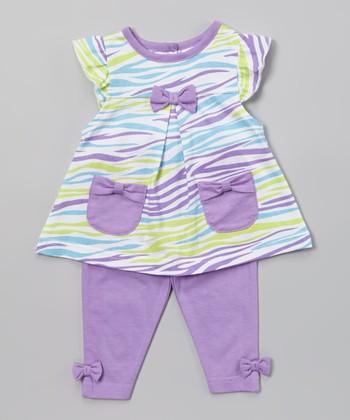 Peanut Buttons Purple & Teal Zebra Tunic & Pants - Infant