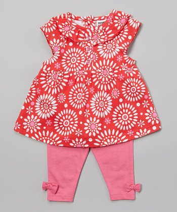 Peanut Buttons Red & Pink Flower Tunic & Pants - Infant
