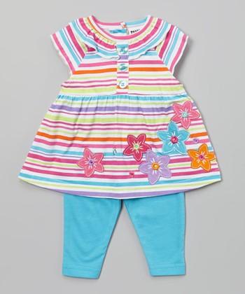 Peanut Buttons Orange & Turquoise Floral Tunic & Pants - Infant