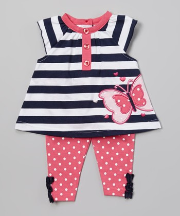 Peanut Buttons Pink & White Butterfly Tunic & Polka Dot Pants - Infant