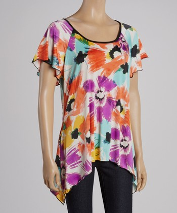 Magic Fit Coral & Light Blue Floral Sidetail Tunic - Women