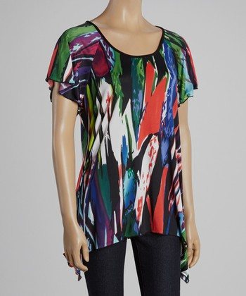 Magic Fit Red & Green Abstract Sidetail Tunic