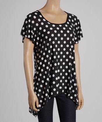 Magic Fit Black & White Polka Dot Sidetail Tunic - Women
