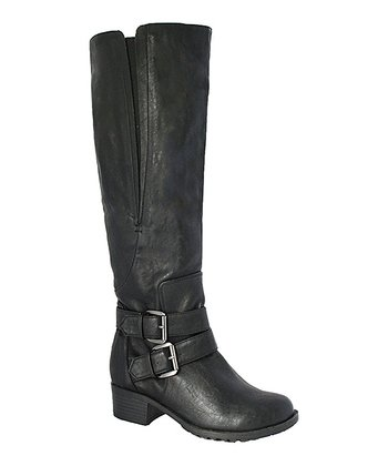 Black Zeila Wide Calf Buckle Boot