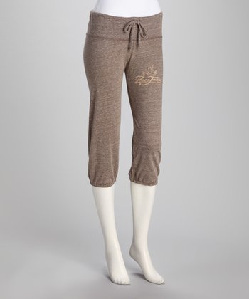 Brown Eco-Heather Cropped Pants - Women