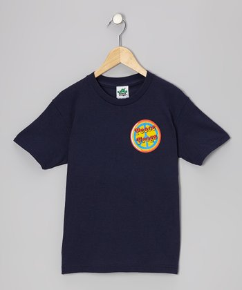 Navy Button Frog Tee - Girls