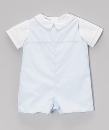 Blue & White Layered Romper - Infant