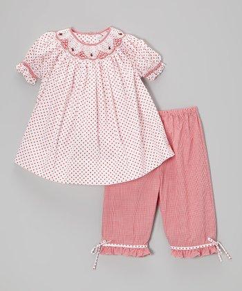 Red Ladybug Smocked Top & Capri Pants - Toddler