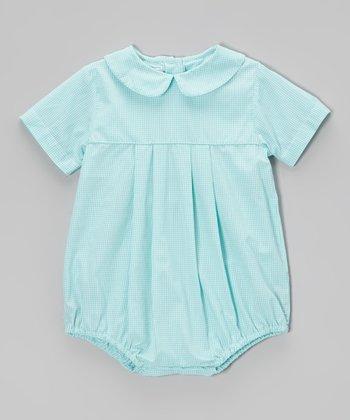 Turquoise Pleated Bubble Bodysuit - Infant