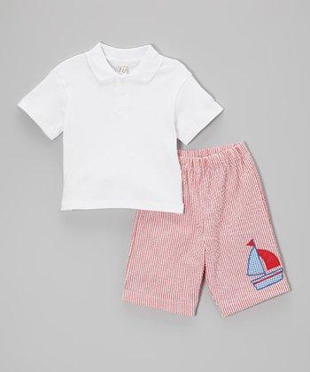 White Polo & Red Sailboat Shorts - Toddler