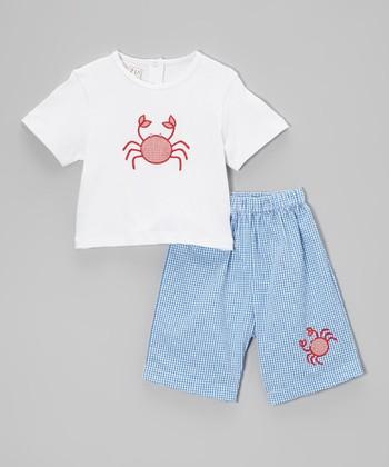 White Crab Tee & Royal Shorts - Toddler