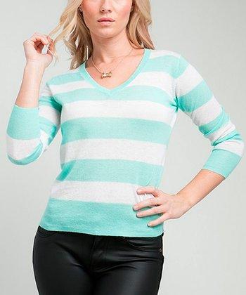 Light Green Stripe V-Neck Sweater