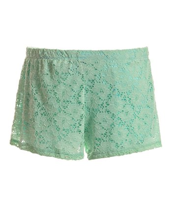 Mint Lace Overlay Shorts - Women
