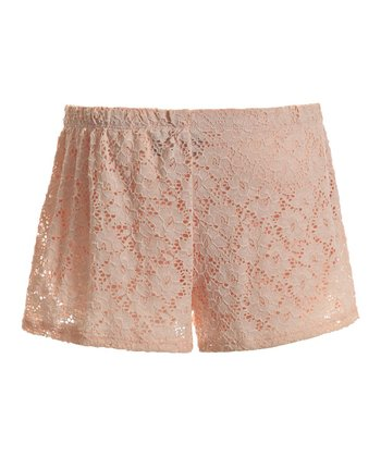 Peach Lace Overlay Shorts - Women