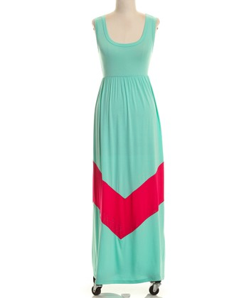 Mint & Fuchsia Chevron Maxi Dress - Women