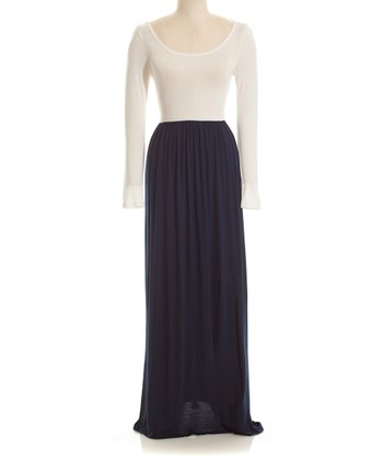 White & Navy Color Block Long-Sleeve Maxi Dress - Women