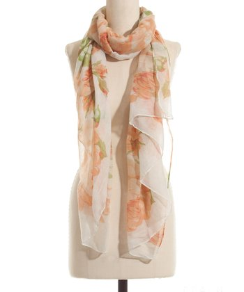 Peach Floral Scarf - Women