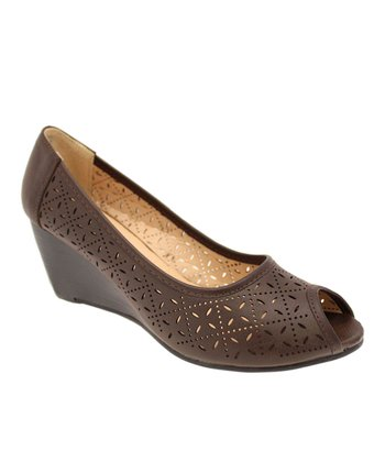 Chocolate Saina Peep-Toe Wedge
