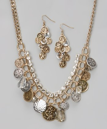 Gold & Silver Sparkle Coin Bib Necklace & Drop Earrings