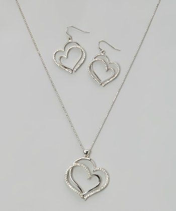 Silver Sparkle Double-Heart Pendant Necklace & Drop Earrings