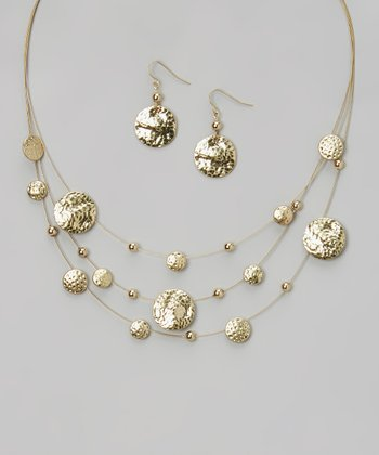 Gold Hammered Disc Station Necklace & Drop Earrings