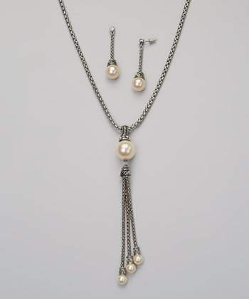 Pearl & Silver Tassel Pendant Necklace & Drop Earrings