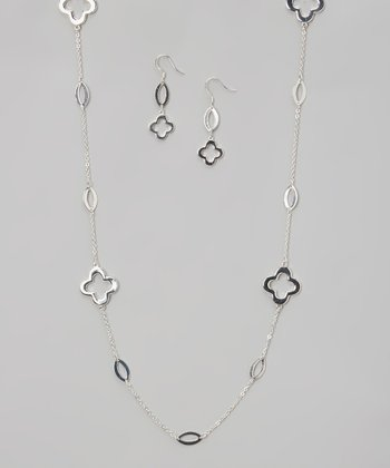 Silver Clover Station Necklace & Drop Earrings