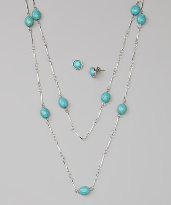 Turquoise & Silver Station Necklace & Stud Earrings