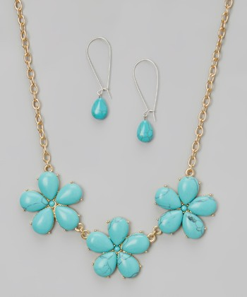 Turquoise & Gold Flower Bib Necklace & Drop Earrings