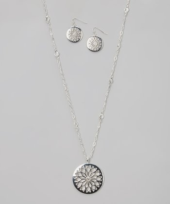 Silver Cutout Pendant Necklace & Drop Earrings